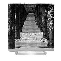 Shower Curtain featuring the photograph Under The Pier #2 Bw by Stuart Manning