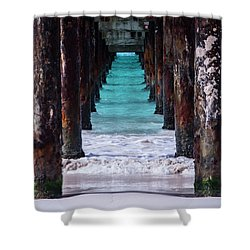 Shower Curtain featuring the photograph Under The Pier by Stuart Manning