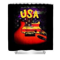 Usa Flag Guitar Purple Stars And Bars Shower Curtain