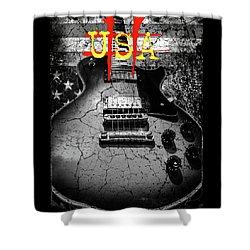 Usa Flag Guitar Relic Shower Curtain