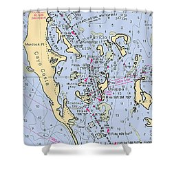 Useppa,cabbage Key,cayo Costa Nautical Chart Shower Curtain