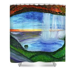 View From The Cave To The Waterfall Shower Curtain