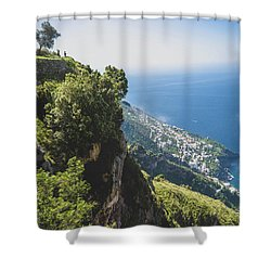 Shower Curtain featuring the photograph View Of Amalfi Italy From Path Of The Gods by Nathan Bush