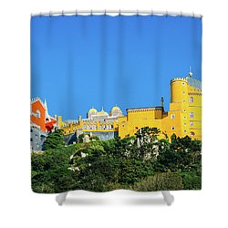View Of Pena National Palace, Sintra, Portugal, Europe Shower Curtain