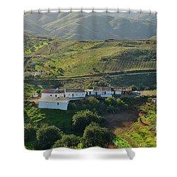 Village Hidden In The Mountains Shower Curtain