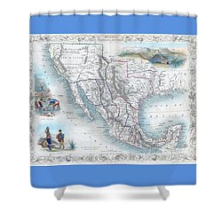 Vingage Map Of Texas, California And Mexico Shower Curtain