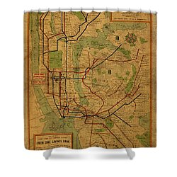 Vintage Map Of New York City Subway System 1954 Shower Curtain