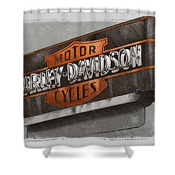 Vintage Motorcycle Shop Shower Curtain