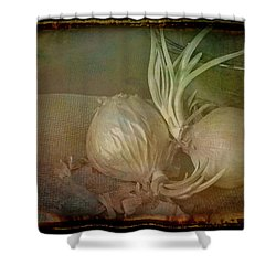 Shower Curtain featuring the mixed media Vintage Onions 3 by Lynda Lehmann