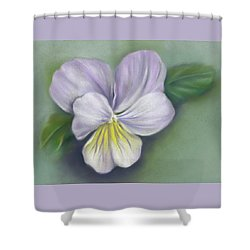 Shower Curtain featuring the pastel Viola Purple And Yellow by MM Anderson