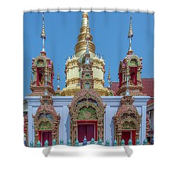 Shower Curtain featuring the photograph Wat Ban Kong Phra That Chedi Base Dthlu0502 by Gerry Gantt
