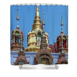 Shower Curtain featuring the photograph Wat Ban Kong Phra That Chedi Brahma And Buddha Images Dthlu0501 by Gerry Gantt