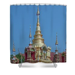 Shower Curtain featuring the photograph Wat Ban Kong Phra That Chedi Pinnacle Dthlu0499 by Gerry Gantt
