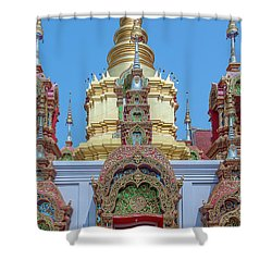 Shower Curtain featuring the photograph Wat Ban Kong Phra That Chedi Window Dthlu0504 by Gerry Gantt