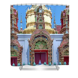 Shower Curtain featuring the photograph Wat Ban Kong Phra That Chedi Windows Dthlu0503 by Gerry Gantt