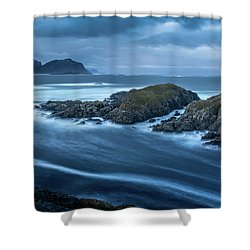 Water Flow At Stormy Sea Shower Curtain