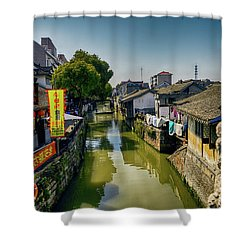 Water Village Shower Curtain