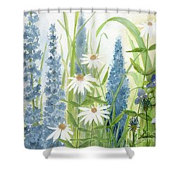Watercolor Blue Flowers Shower Curtain