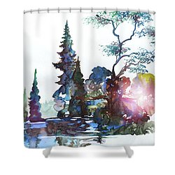 Watercolor Forest And Pond Shower Curtain