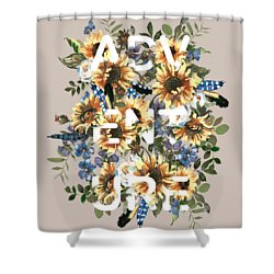 Shower Curtain featuring the painting Watercolour Sunflowers Adventure Typography by Georgeta Blanaru