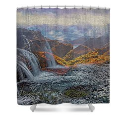 Waterfalls In The Mountains Shower Curtain