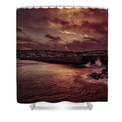 Wave At The Pier Shower Curtain