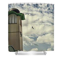 Shower Curtain featuring the photograph Wellington Pier Entertainment Centre Tower by Scott Lyons