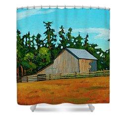 West Beach Barn Shower Curtain