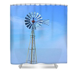 Shower Curtain featuring the photograph West Texas Windmill A9718 by Mas Art Studio
