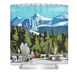 Shower Curtain featuring the drawing Western Slope Winter by Dan Miller