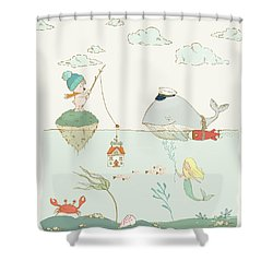 Shower Curtain featuring the painting Whale And Bear In The Ocean Whimsical Art For Kids by Matthias Hauser