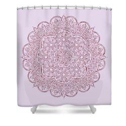 Shower Curtain featuring the digital art Whimsical Burgundy Mandala by Georgeta Blanaru