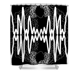 White And Black Frequency Mirror Shower Curtain