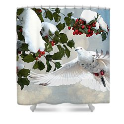 White Dove And Holly Shower Curtain