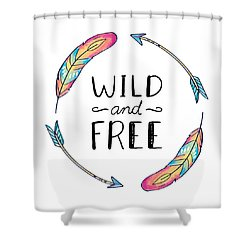 Wild And Free Colorful Feathers - Boho Chic Ethnic Nursery Art Poster Print Shower Curtain