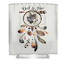 Shower Curtain featuring the mixed media Wild And Free Wolf Spirit Dreamcatcher by Georgeta Blanaru