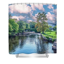 Willimantic River With Clouds Shower Curtain