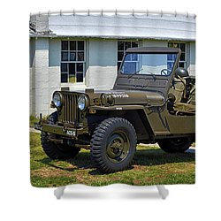 Shower Curtain featuring the photograph Willys Army Jeep 20899516 At Fort Miles by Bill Swartwout Fine Art Photography