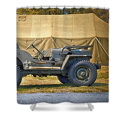 Shower Curtain featuring the photograph Willys Jeep U S A 20899516 At Fort Miles by Bill Swartwout Fine Art Photography