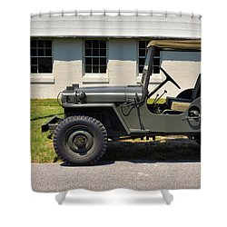 Shower Curtain featuring the photograph Willys Jeep Usa With Canopy At Fort Miles by Bill Swartwout Fine Art Photography