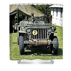 Shower Curtain featuring the photograph Willys Jeep With Machine Gun At Fort Miles by Bill Swartwout Fine Art Photography