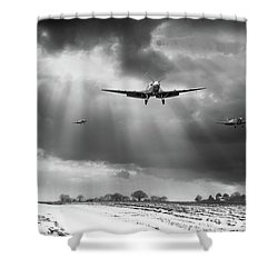 Shower Curtain featuring the photograph Winter Homecoming Bw Version by Gary Eason