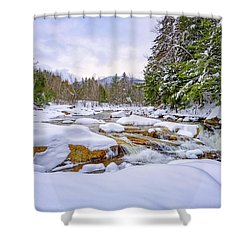 Winter On The Swift River. Shower Curtain