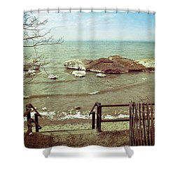 Winter Shore At Pier Cove Beach Shower Curtain