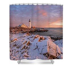 Winter Sunrise At Portland Head Light Shower Curtain