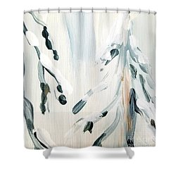 Shower Curtain featuring the painting Winter Trees #3 by Maria Langgle