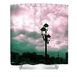 Winter Venice Lantern On The Embankment Shower Curtain
