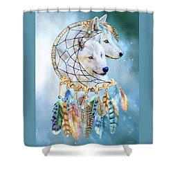 Shower Curtain featuring the mixed media Wolf Dreams by Carol Cavalaris
