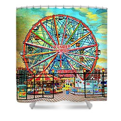 Wonder Wheel Weekender Tote Bag Version Shower Curtain