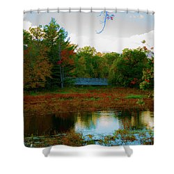 Wood Bridge In The Fall Shower Curtain